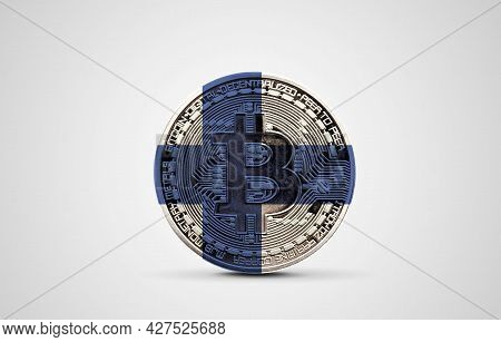 Finland Flag On A Bitcoin Cryptocurrency Coin. 3d Rendering