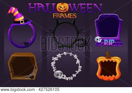 Halloween Empty Avatar Frames, Scary Templates For Graphic Design.