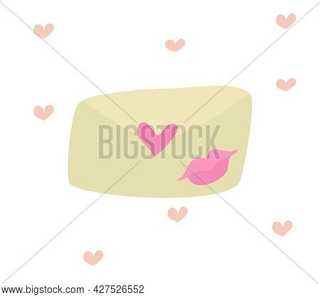A Cute Envelope With A Romantic Love Message. A Letter From My Beloved. An Envelope With A Kiss. Cut