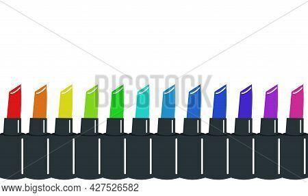 Border Of Multi-colored Lipsticks, Lipsticks In A Row