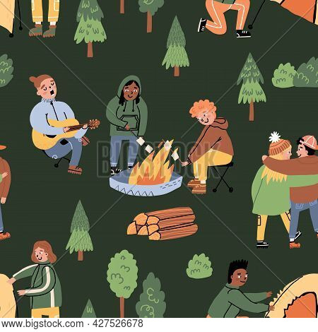 Forest, Outdoor Pastime Seamless Pattern. Friends Walking In Woods, Putting Up A Tent, Fries Marshma