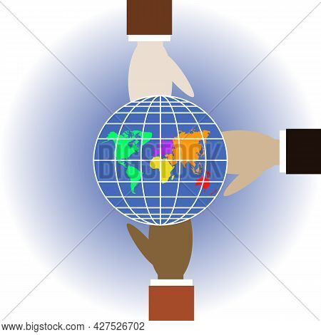 Different Races People Hold Globe. Showing Kindness And Respect Symbol. Trust, Friendship Sign. All