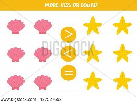More, Less, Equal With Starfish And Sea Shell. Math Game For Kids.
