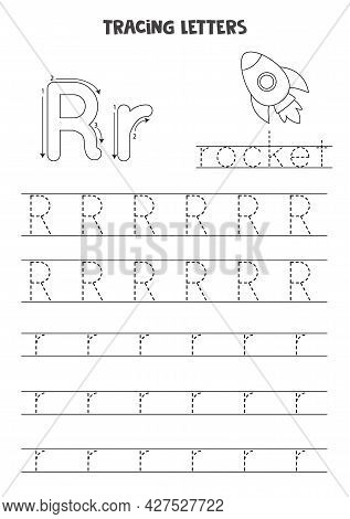 Trace Letters Of English Alphabet. Uppercase And Lowercase R. Handwriting Practice For Preschool Kid