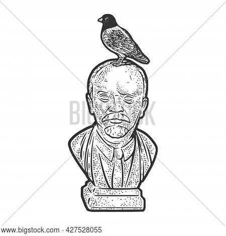 Pigeon Dove On Lenin Statue Bust Line Art Sketch Engraving Vector Illustration. T-shirt Apparel Prin