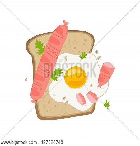 Sandwich With Egg And Sausage. Toast With Scrambled Eggs Color Beautiful Picture. Traditional Breakf