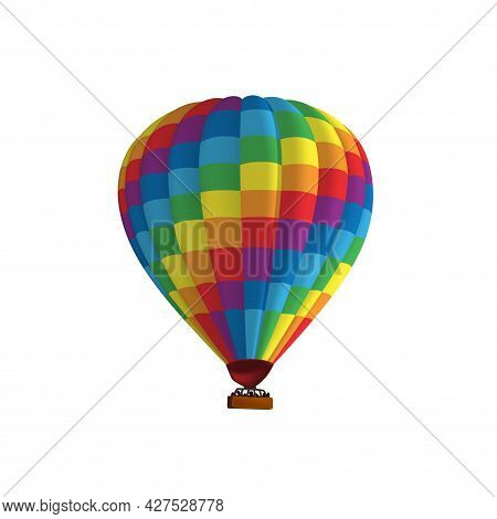 Hot Air Balloon Colorful Rainbow Vector Illustration. Graphic Isolated Colorful Aircraft. Balloon Fe