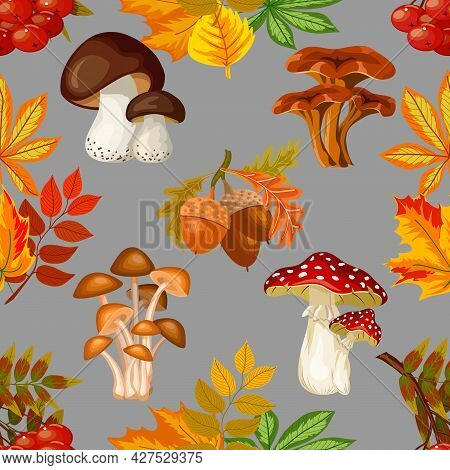 Mushrooms And Leaves In A Pattern.vector Pattern With Mushrooms, Berries And Autumn Leaves.