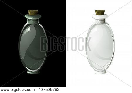Empty Transparent Flask For Magic Potion For Ui Games.