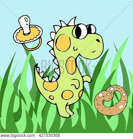 Dinosaur On The Grass With A Bagel And A Pacifier, Children\'s Illustration.