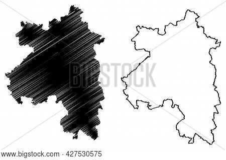 Sonneberg District (federal Republic Of Germany, Rural District, Free State Of Thuringia) Map Vector