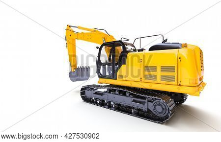 yellow excavator on the white background. 3d render