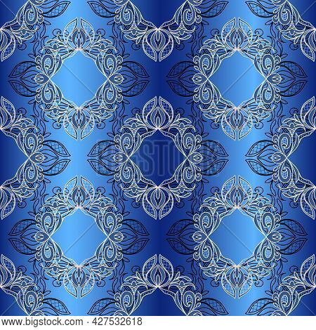 Lace Seamless Abstract Pattern. Vintage Floral Lace Elements, Gradient Blue Background. Great For De