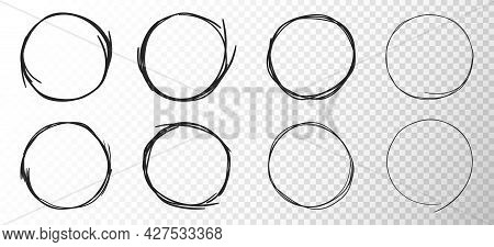 Set Of Hand Drawn Circles On Transparent Background. Sketched Simple Line Rings. Abstract Pencil Dra