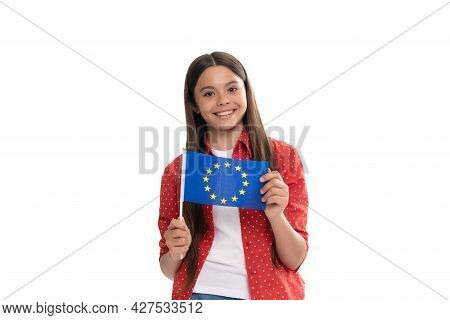 Schengen Countries. Touristic Visa. Education Abroad For Child. Kid Isolated On White Study Abroad.