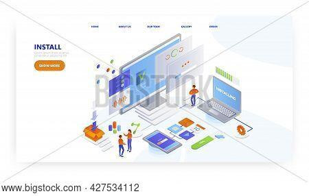 Install, Landing Page Design, Website Banner Vector Template. Software Programs, Apps Downloading An