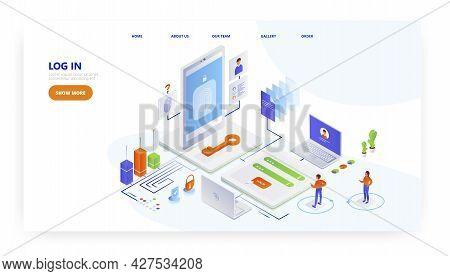 Log In, Landing Page Design, Website Banner Vector Template. Login Authorization, Password, Personal