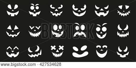 Scary And Funny Faces Of Halloween Pumpkin Or Ghost On Black Background. Vector Illustration.