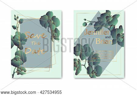 Wedding Invitation Card With Greenery Watercolor Branch Leaf And Gold Frame In Minimalist Style. Vec