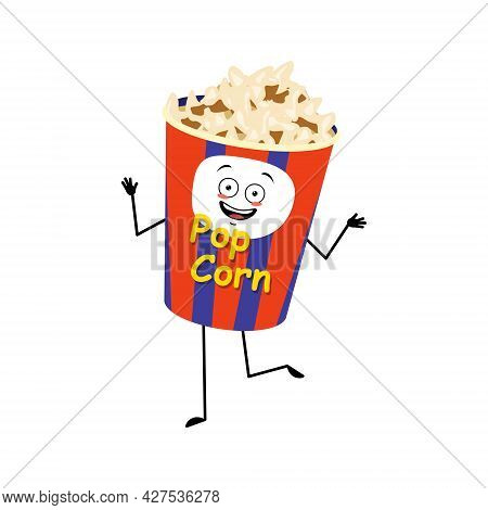 Cute Popcorn Character In A Holiday Box With Happy Emotions, Dancing, Joyful Face, Smile Eyes, Arms