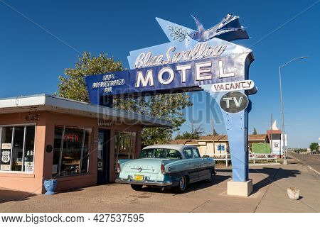 Tucamcari, New Mexico - May 6, 2021: Blue Swallow Motel Neon Sign, A Famous Classic Route 66 Motel