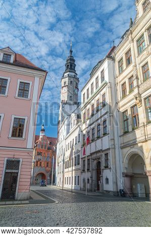 Gorlitz, Germany - June 2, 2021: Tower Of Old Town Hall. The City hall Of The City Gorlitz Is Sinc