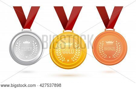 Three Medals With Inscriptions - Gold, Silver And Bronze. Set Of Sports Medals On A Red Ribbon. Awar