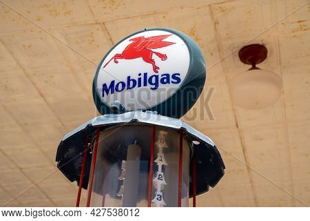 Shamrock, Texas - May 6, 2021: Close Up Of An Old Gas Pump By Mobilgas Along Route 66