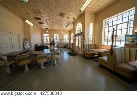 Shamrock, Texas - May 6, 2021: Inside The Diner Of The Conoco Tower Gas Station And U-drop Inn Along