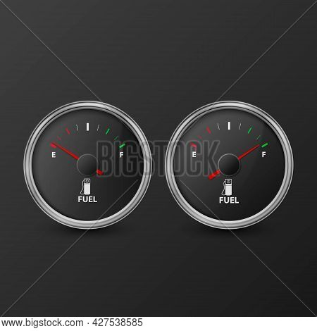 Vector 3d Realistic Silver Circle Gas Fuel Gauge With Black Dial Icon Set Isolated On Black Backgrou
