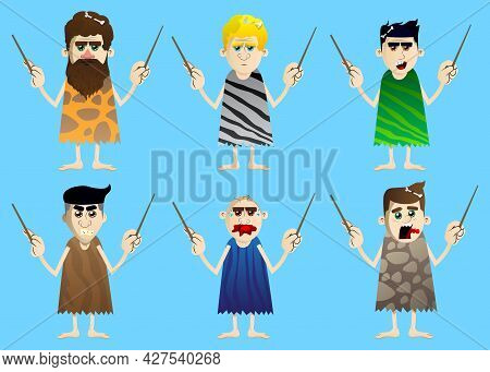 Cartoon Prehistoric Man As An Orchestra Conductor. Vector Illustration Of A Man From The Stone Age.