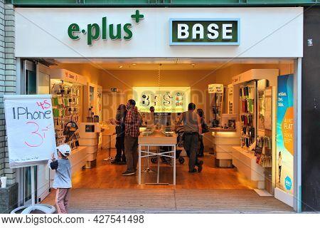 Hamburg, Germany - August 28, 2014: People Visit E-plus Base Mobile Phone Store In Hamburg. E-plus H