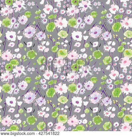 Simple Cute Pattern With Small Green And White Flowers On Grey. Drawn Floral Seamless Meadow Backgro