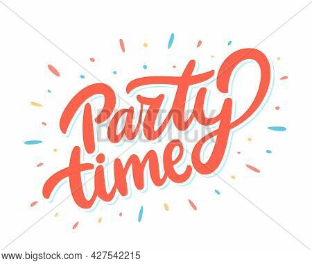 Party Time. Vector Lettering Banner. Vector Illustration.