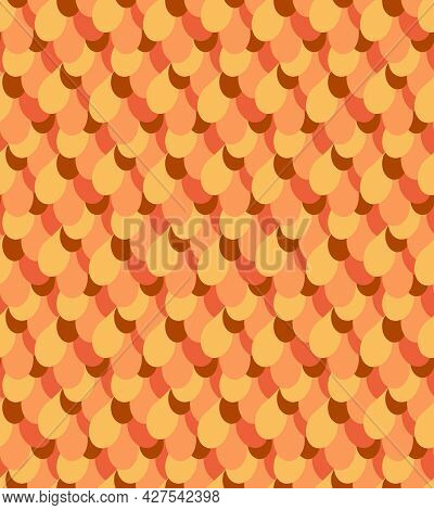 Seamless Pattern Vector Background In Autumn Warm Cozy Colors. Fish Scale Vector Backdrop. Simple Sh