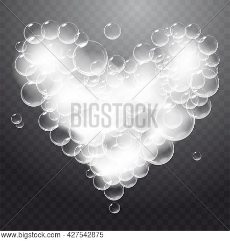 Realistic Soap Foam With Bubbles Shaped As Heart. Valentine Day Symbol. Romantic Glossy Soapy Heart.