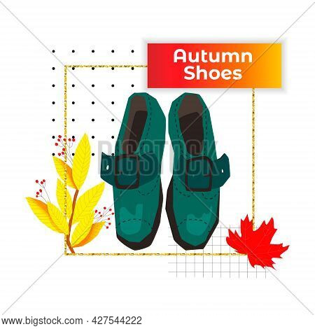 Vector Illustration With Autumn Shoes, Brogues With A Buckle, Top View. Concept Of Seasonal Shoes. B
