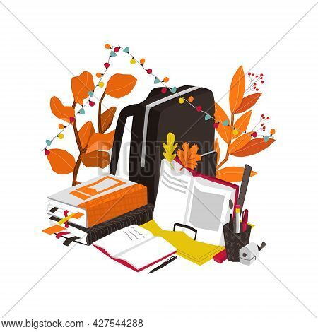 Vector Illustration With Set Of Educational Subjects For School. Table With Textbooks, Books, Notebo