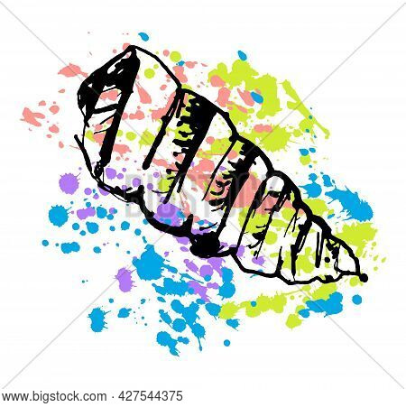 Oyster Shell Is Drawn On An Abstract Colorful Background With Splashes And Drops. The Concept Of Und