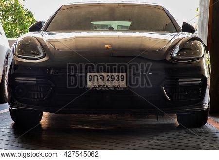 Bangkok, Thailand - 06 Jun 2021 : Front View Shot Of Black Porsche Sports Car Parked In The Parking