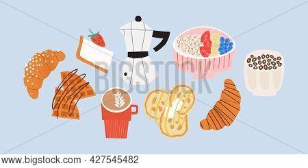 Sweet Breakfast Set. Croissant, Coffee, Oatmeal, Waffles, Pancakes.
