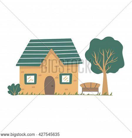 Cute Country House With A Bench And A Tall Tree. Colorful Vector Isolated Illustration Hand Drawn. C