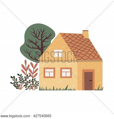 Cute Country House With A Tall Tree And Bushes Of Vegetation. Colorful Vector Isolated Illustration