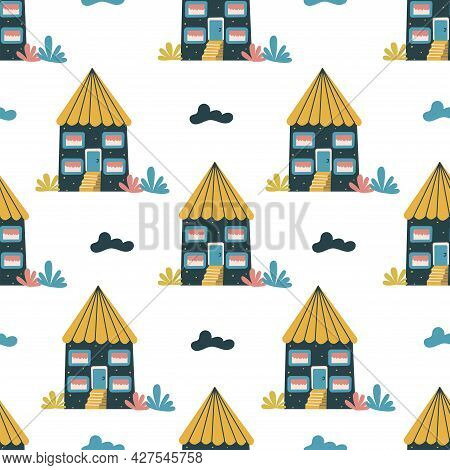 Seamless Patterm With Blue Sweet Home With Stairs And Clouds. Unusual Design. Colorful Vector Isolat