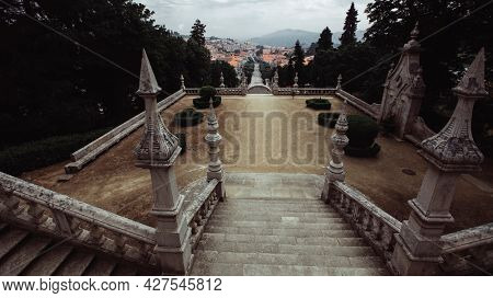 View of street stairway in Lamego city, north Portugal.