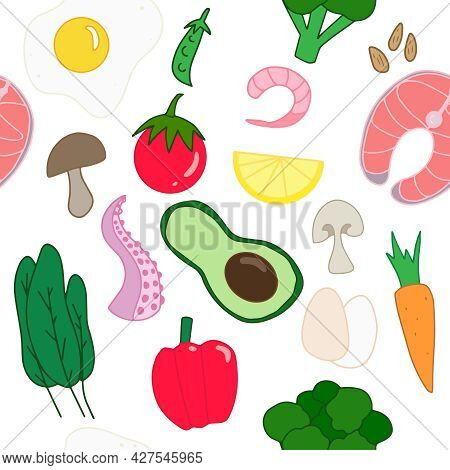 Colorful Keto Food Seamless Pattern On White Background