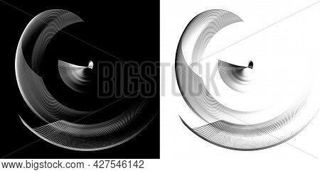 Monochrome Transparent Airy Elements Revolve Around The Center On A Black And White Backgrounds. Gra