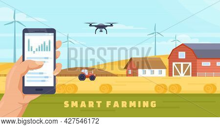 Smart Farming Agriculture Technology, Cartoon Farmer Hands Holding Phone To Control Drone