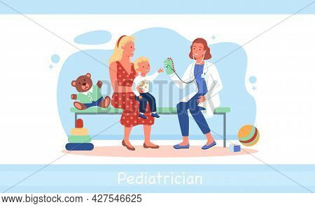Cartoon Doctor Woman Character And Kid Boy Patient Playing Together, Medic Pediatrician Examining Ch