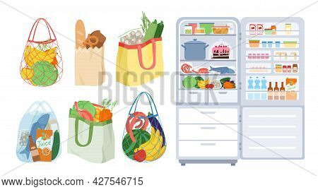 Refrigerator With Open Door, Bags Full Of Food From Grocery Store Or Supermarket Set
